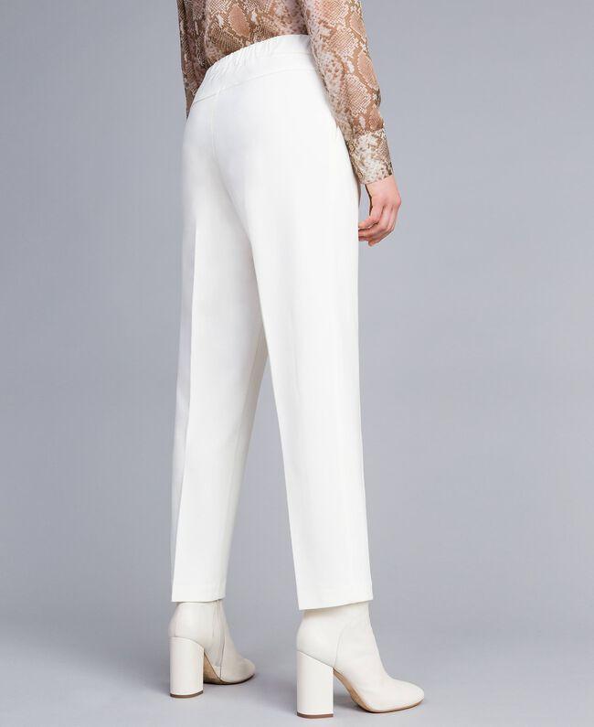 Pantalon de jogging en point de Milan Blanc Neige Femme PA821V-04
