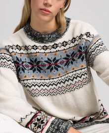 Alpaca jacquard blend jumper Vanilla White Woman 192MT3080-01