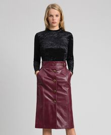 Jupe mi-longue en similicuir Rouge Velours Femme 192TT203B-05