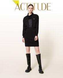 Robe en maille avec empiècements en satin Noir Femme 212AP3191-01