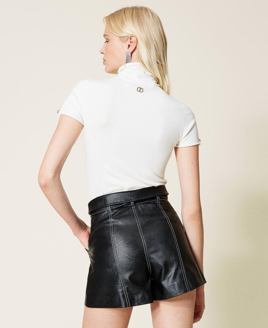 """Lupetto in maglia con bottone logato Riga Bianco """"Neve"""" / Nero Donna 212TP3102-03"""