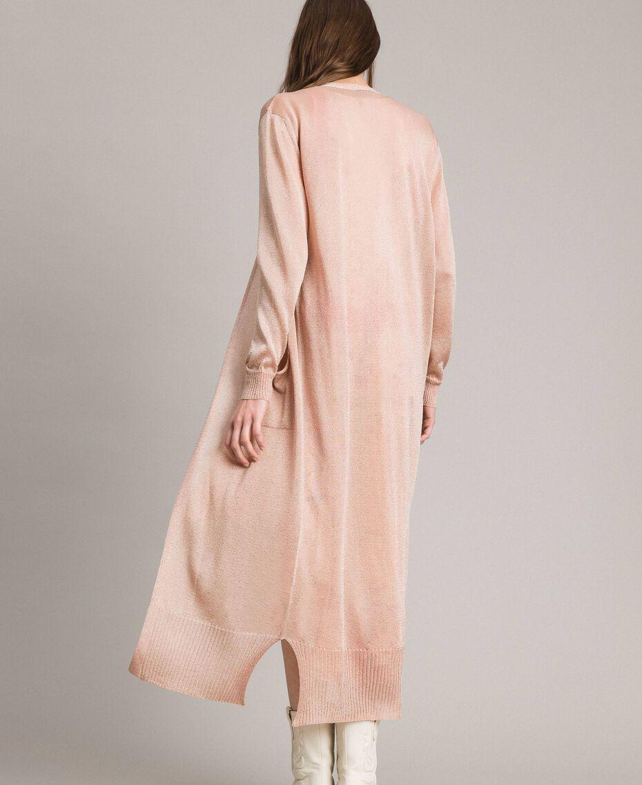 Lurex maxi cardigan Light Pearl Pink Lurex Woman 191TP3220-03