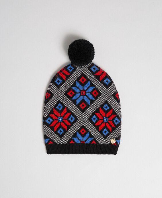 Jacquard knit beret with pompom