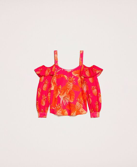 Printed blouse with cutout shoulders