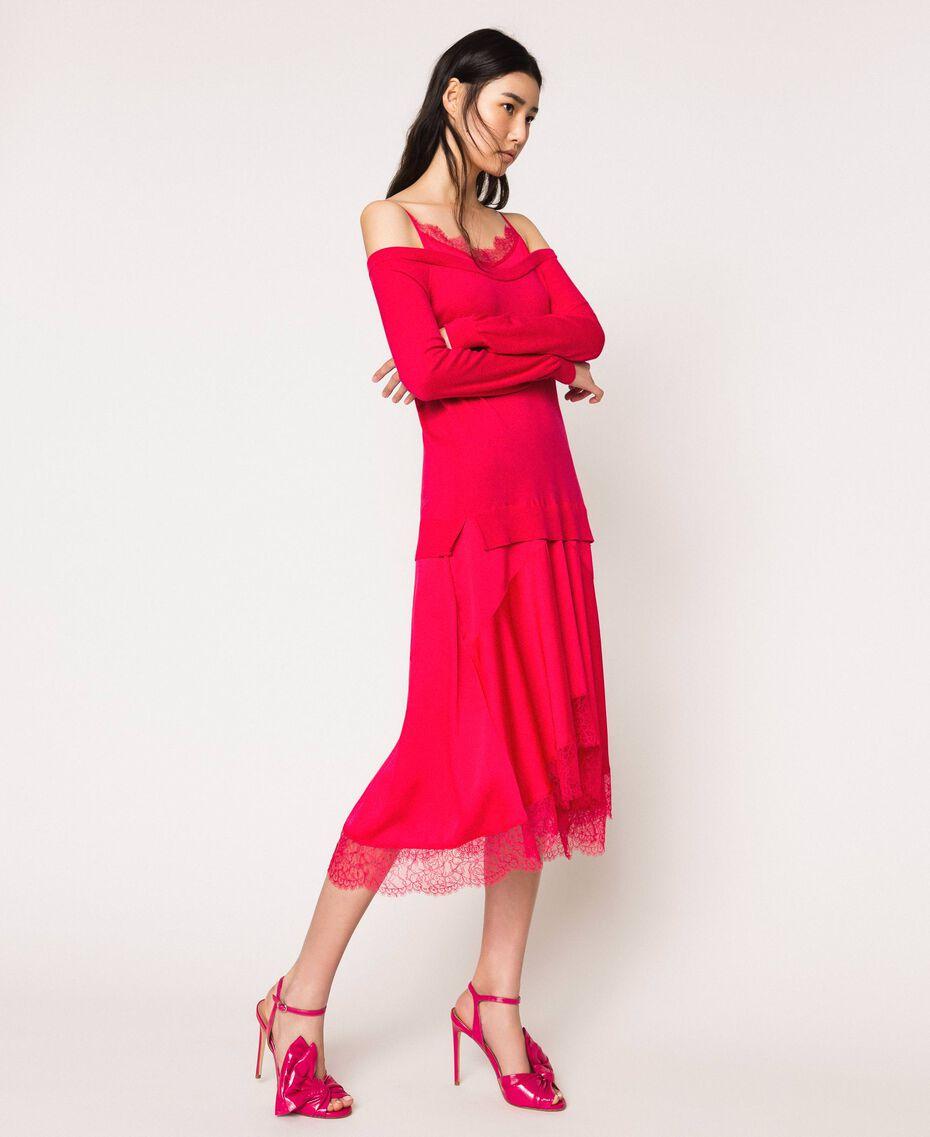 Knit dress with slip effect satin Black Cherry Woman 201TP3070-02