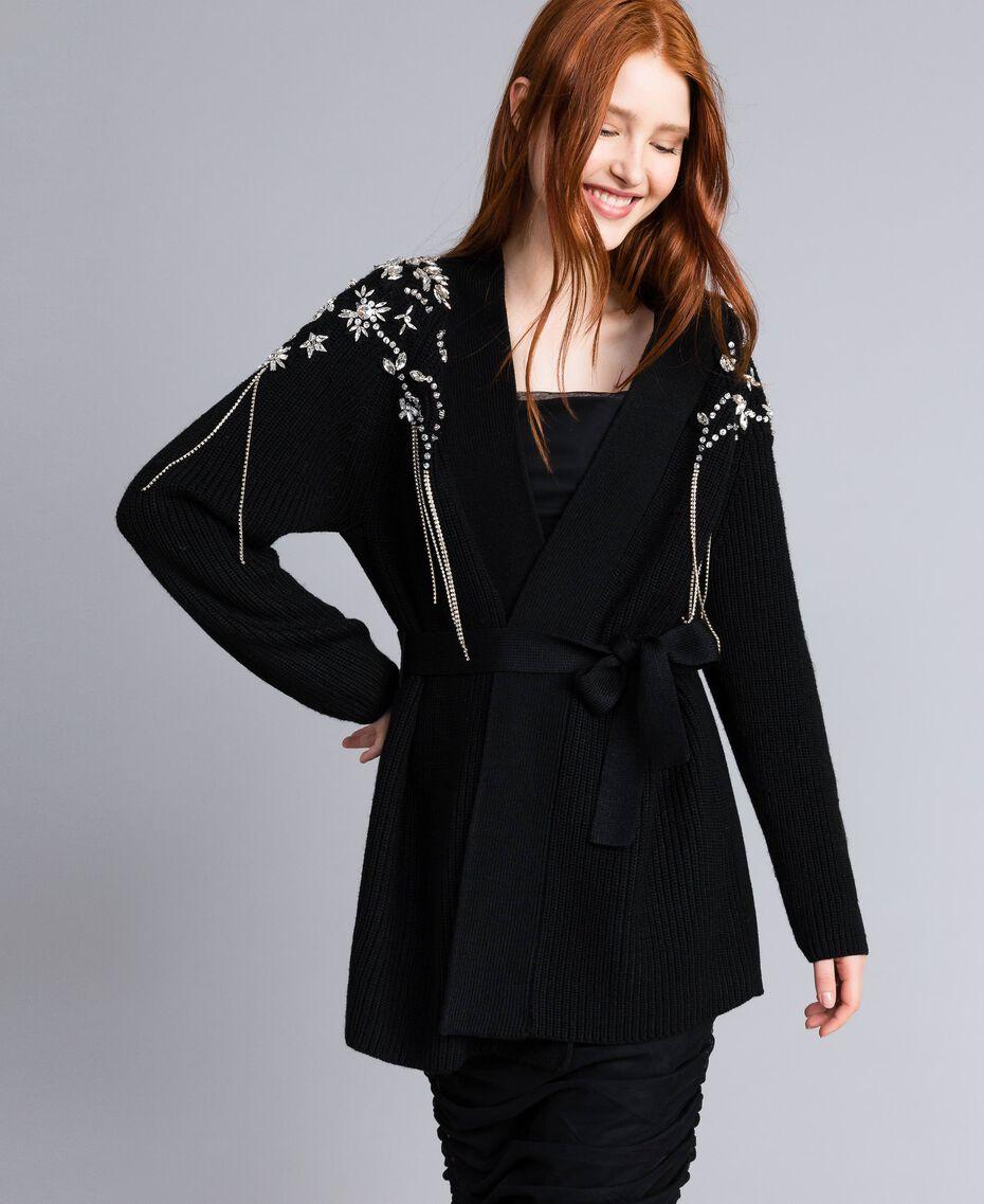 Wool-blend embroidered maxi cardigan Black Woman QA8TJP-02