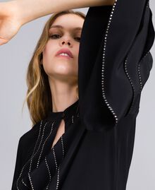 Long silk blend dress with rhinestones Black Woman TA8233-04
