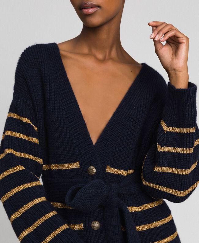 Wool blend maxi cardigan with lurex stripes Midnight Blue Striped / Dark Gold Woman 192TT3361-01