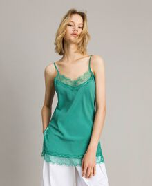 Crêpe de Chine top with lace Garden Green Woman 191ST2060-01