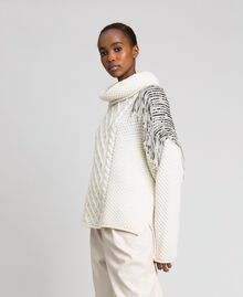 Oversize jumper with sequins and fringes White Snow Woman 192TT3231-05