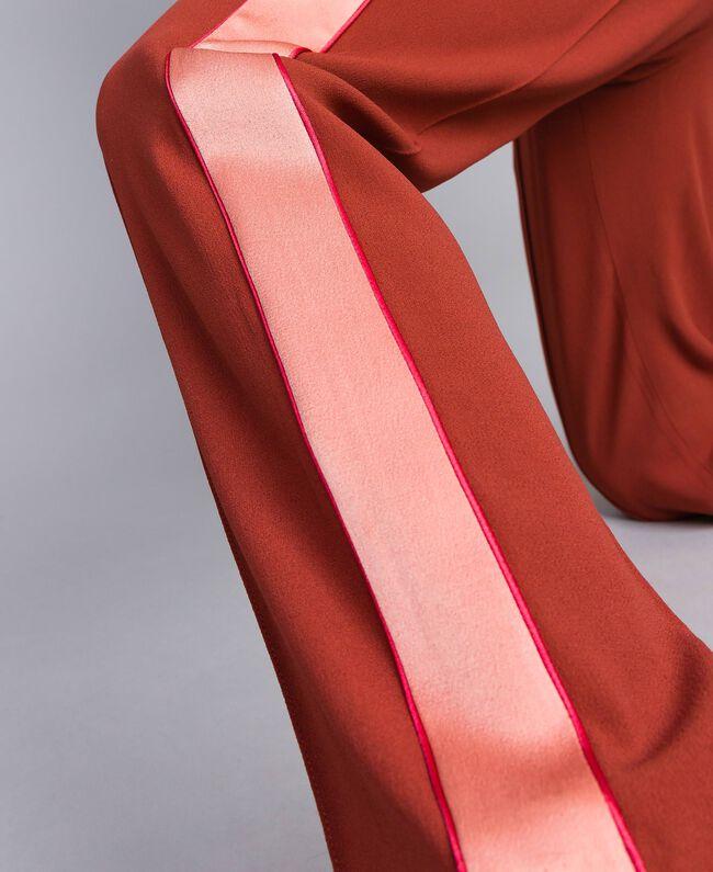 Pantalon en envers satin Bicolore Orange Brûlée / Rose «Sable Rose» Femme TA824W-04