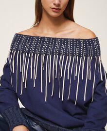 Sweatshirt mit Stickerei und Fransen Blackout Blau Frau 202LI2HAA-04