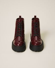 """Faux leather combat boots """"Wine tasting"""" Purple Woman 202MCT140-05"""