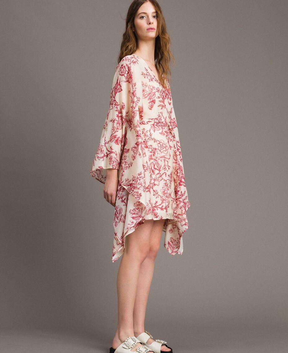 Kimonokleid aus Seidenmischung Motiv Toile De Jouy Rot Frau 191TT2406-02