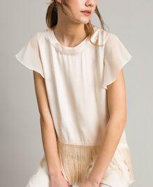 """T-shirt en satin avec franges Beige """"Voie Lactée"""" Femme 191LM2BBB-01"""