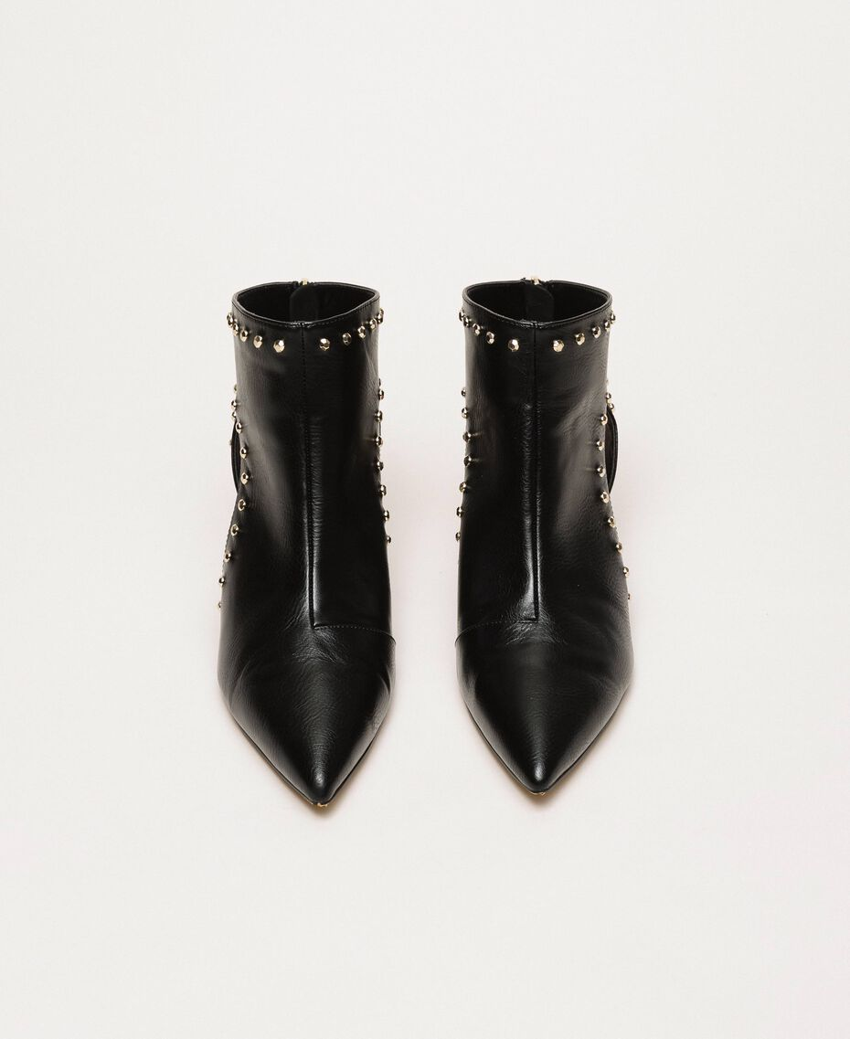 Ankle boots with cutout and studs Black Woman 201MCP080-05