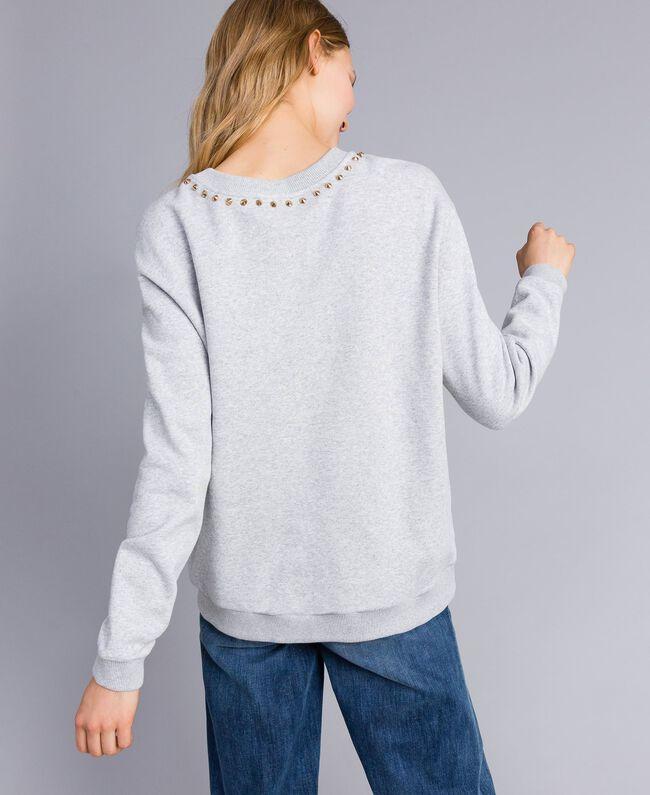 Sweatshirt aus Baumwolle mit Print Grau Melange Frau TA82ZB-03
