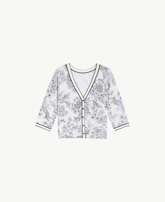 Printed cardigan Optical White Macrofloral Print Woman LS8DEE-01
