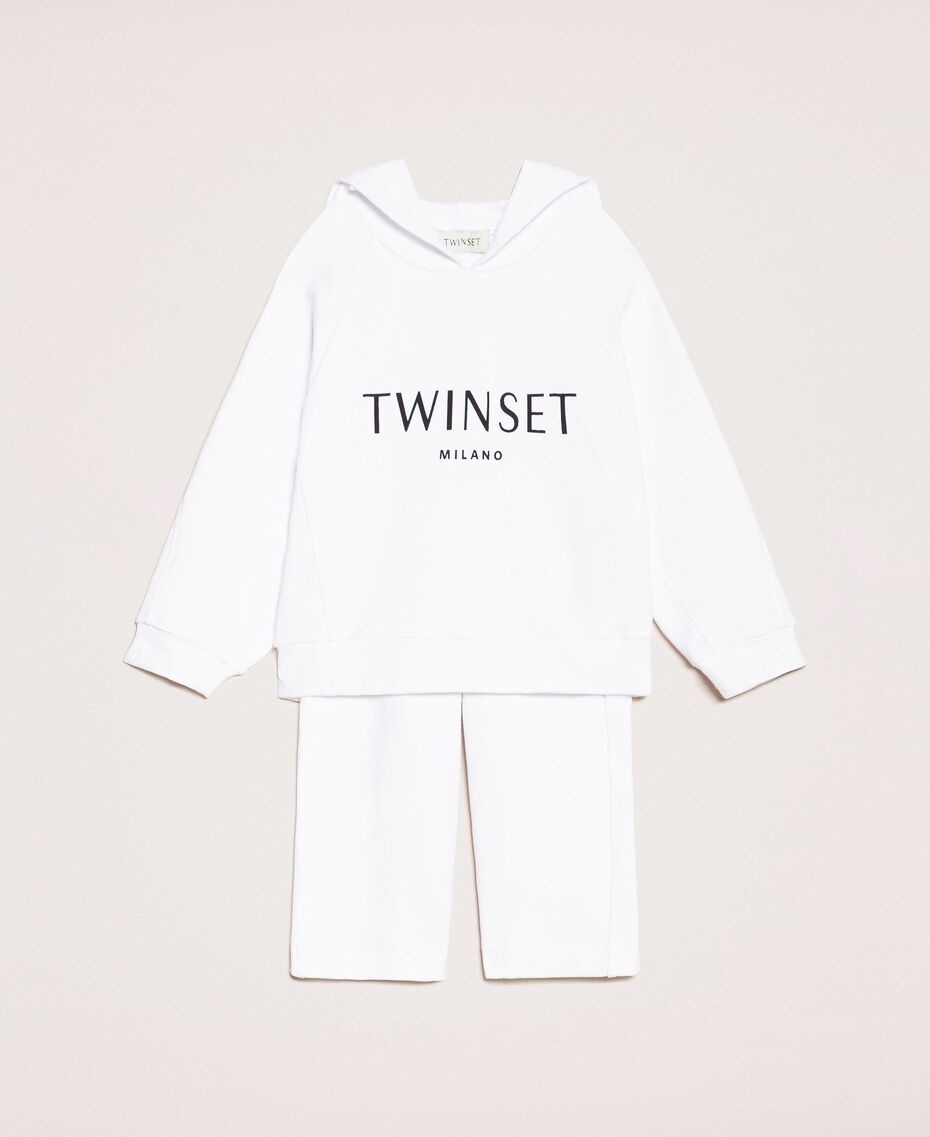 Logo sweatshirt and cropped trousers Fluo Twinset Print / Pale Pink Child 201GB2372-01