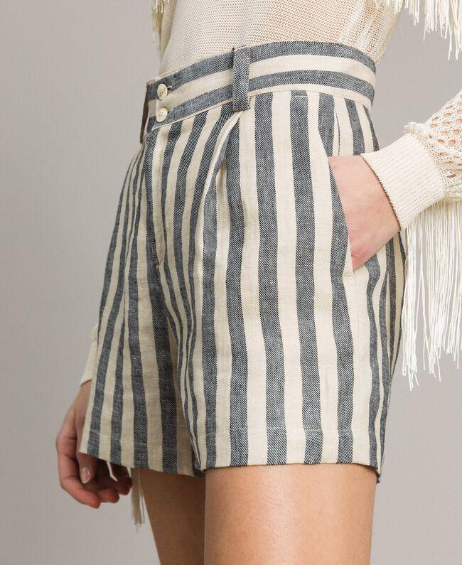 """Short en lin à rayures bicolores Bicolore Noir / Beige """"Pâte d'Amande"""" Femme 191TT2312-04"""