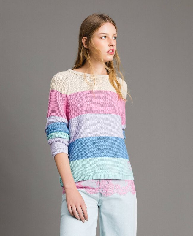 Striped top with heart detail Multicolour Pastel Colour Woman 191MP3011-03