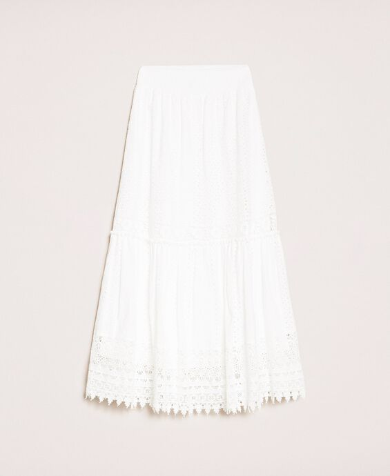 Broderie anglaise long skirt with lace
