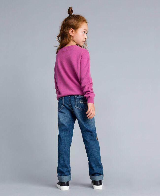 """Jeans aus Denim mit Pailletten Zweifarbig Denimblau / Pailletten """"Bougainville""""-Rosa Kind GA82PD-03"""