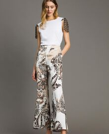 "Paisley print palazzo trousers ""Milkyway"" Beige / Paisley Print Woman 191LM2SAA-02"