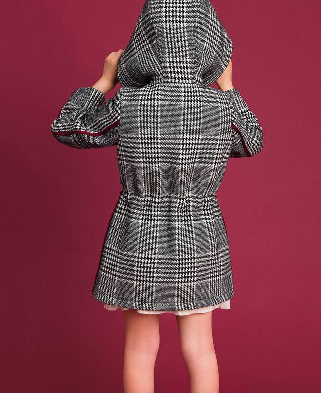 Parka en laine mélangée pied-de-poule Pied de Poule Blanc / Noir Enfant 192GJ2110-04