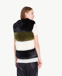 Gilet fausse fourrure Multicolore Noir / Blanc Optique / Vert Sauge Femelle TA7291-03