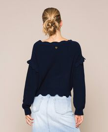 Пуловер квадратного кроя с фестонной отделкой Белый Снег женщина 201TP3021-03