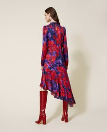 "Floral print satin dress ""Vibrant"" Purple / Venetian Red Floral Print Woman 202TT2350-04"