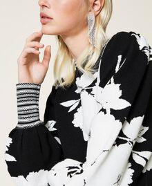 Robe jacquard florale Jacquard Fleurs Blanc «Neige»/ Noir Femme 212TP3540-05