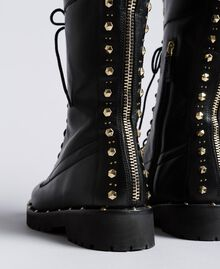 Leather combat boots with rivets and studs Black Woman CA8PLY-04