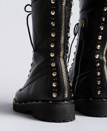 Boots en cuir avec rivets et clous Noir Femme CA8PLY-04