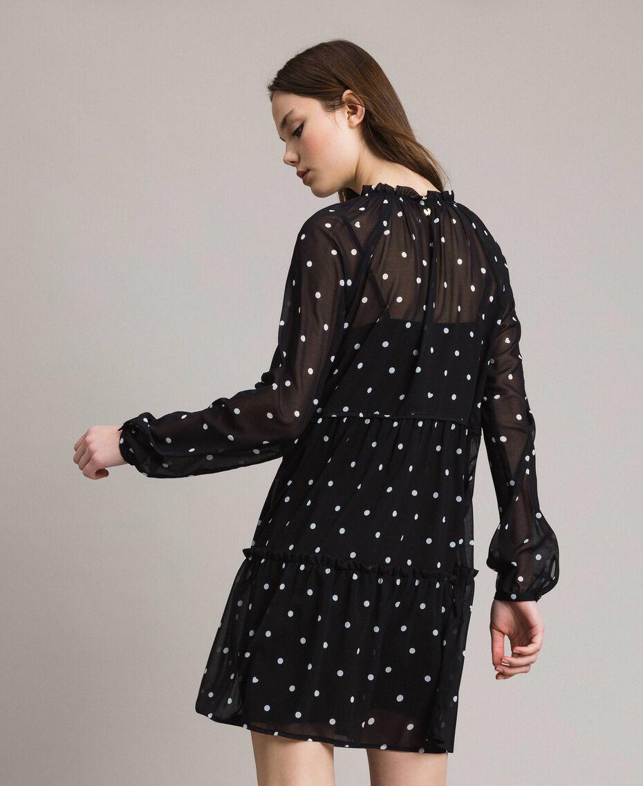 Kleid aus Georgette mit Tupfen und Volants Motiv Herz Polka Dot Schwarz / Weiß Frau 191MP2336-03
