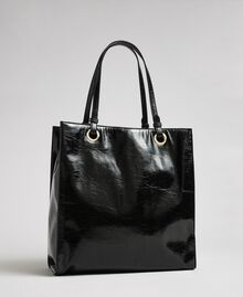 Faux patent leather shopping bag with logo Black Woman 192TA7170-03