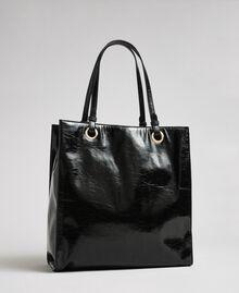 Shopper aus glänzendem Lederimitat mit Logo Schwarz Frau 192TA7170-03