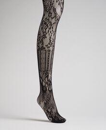 Strumpfhose aus einem Mix aus Spitze und Netzmaschen Schwarz Frau 192TA4329-01