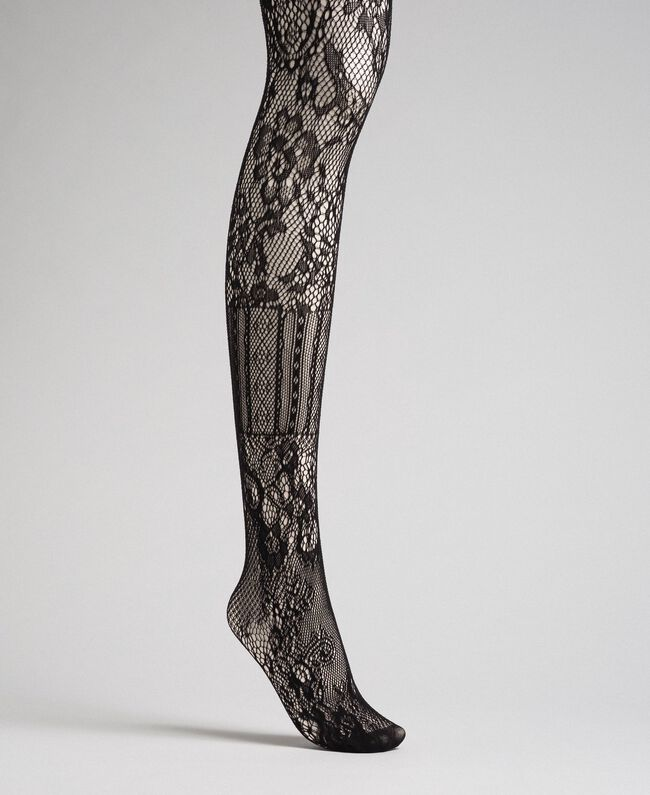 Tights with mixed mesh and lace Black Woman 192TA4329-01