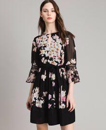 "Floral print georgette dress ""Peach Mix"" Pink Black Print Woman 191TP2716-01"