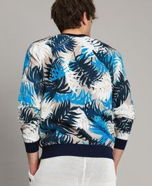 """Crêpe cotton printed jumper All Over """"Palms"""" Camouflage Print Man 191UT3060-03"""