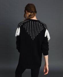 """Maxi maglia con carré jacquard e frange Nero / Bianco """"Vaniglia"""" Donna 192MT3240-03"""