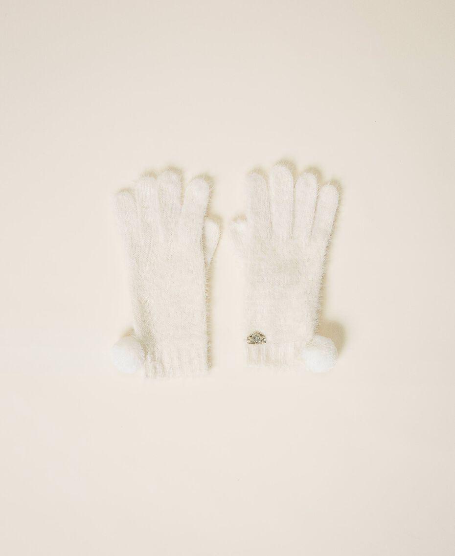 Перчатки из меланжевой пряжи Слоновая кость женщина 202LI4ZTT-01