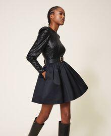 Minifalda de duquesa Negro Mujer 202TP2453-03