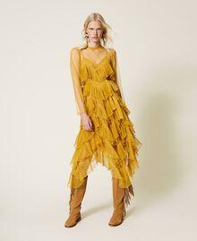 Vestido de tul con volantes plisados Amarillo Azafrán Mujer 212TP2200-01
