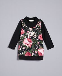 Jersey mock neck jumper and maxi top Black with Pink Rose Print Child FA82LA-01