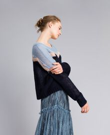 Rose mohair jumper Blue Jacquard and Printed Rose Woman PA837A-02