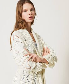 Lace stitch maxi cardigan with fringes White Snow Woman 211TT3030-04