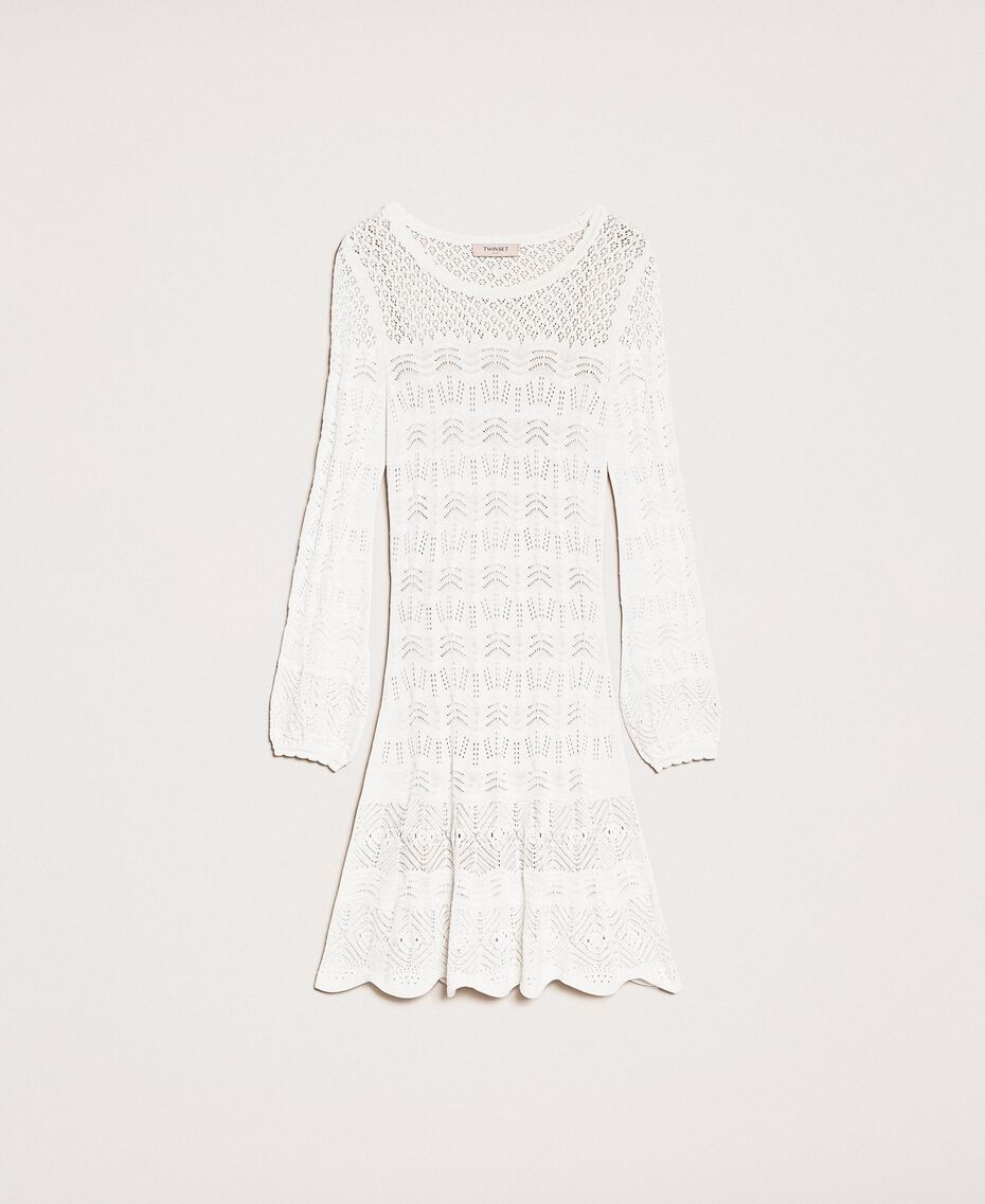 Lace effect knit dress White Snow Woman 201TP3210-0S